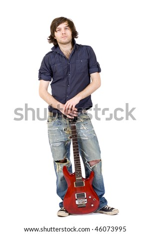 picture of a guitarist holding his guitar over white background - stock photo