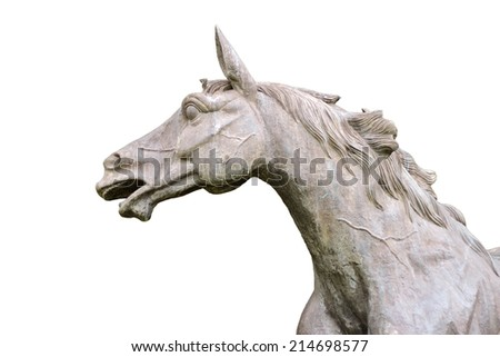 Picture of a horse statue with white background - stock photo