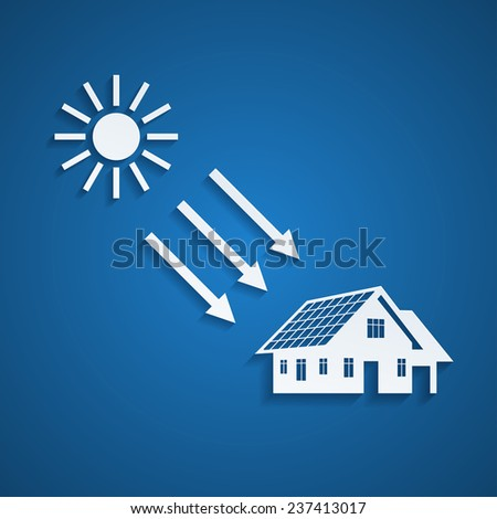 picture of a house silhouette with solar panels on the roof and the sun, alternative energy concept - stock photo