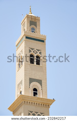 Picture of a mosque with blue sky in Oman - stock photo