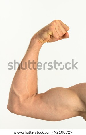 Picture of a muscular arm flexing - stock photo