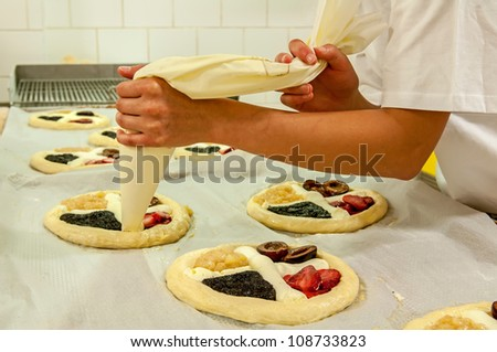 Picture of a production process of Czech traditional pies. - stock photo