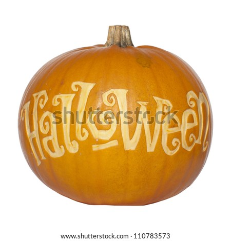 Picture of a pumpkin, with Halloween cut in the surface Isolated, white background - stock photo