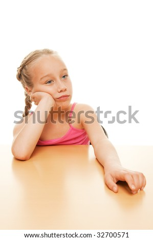 Picture of a tired schoolgirl - stock photo