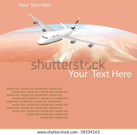 Picture of airplane on the orange background - stock photo