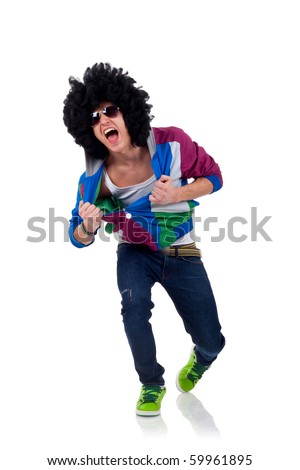 picture of an afro man pulling his clothes over white - stock photo