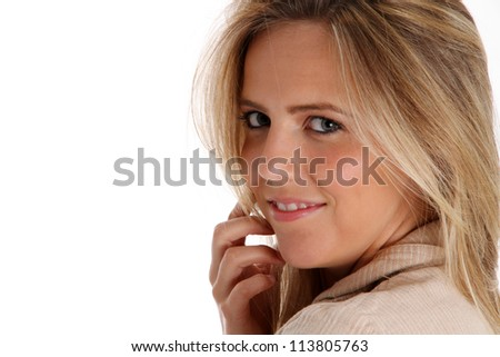 Picture of and adult woman set against a white background - stock photo