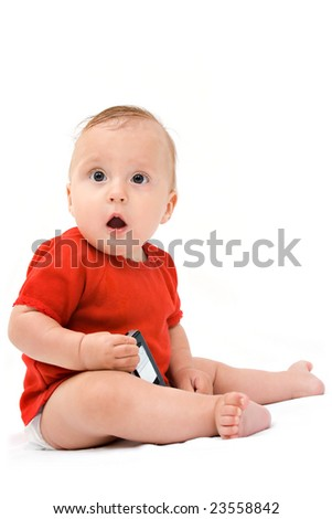 picture of baby in diaper with cell phone - stock photo
