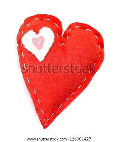 Picture of beautiful handmade red heart-shaped soft toy isolated on white background, sew homemade gift for Valentines day, cute present for romantic holiday, love concept - stock photo