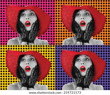 Picture of beautiful retro-styled woman in red hat on different background - stock photo