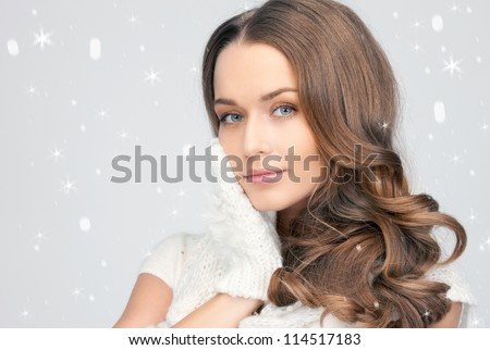 picture of beautiful woman in white gloves. - stock photo