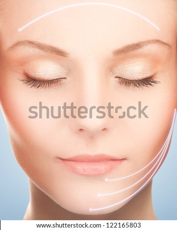 picture of beautiful woman ready for cosmetic surgery - stock photo