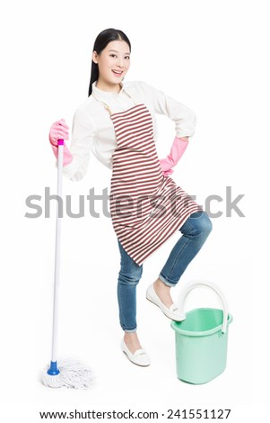 picture of beautiful woman with cleaning sweep, white background - stock photo