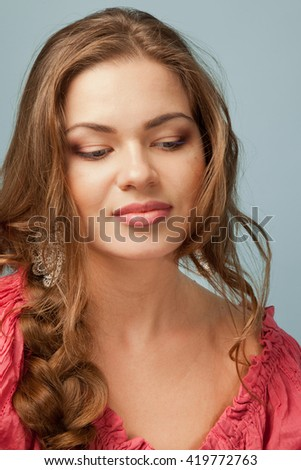 Picture of beautiful  woman with full sensuous lips - stock photo