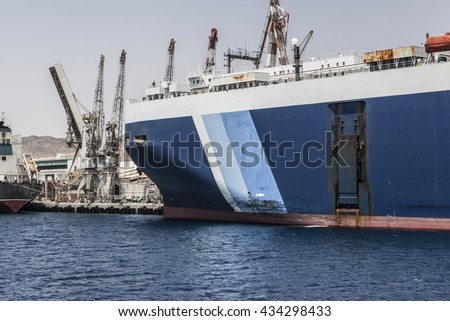 Picture of blue big ship on water - stock photo