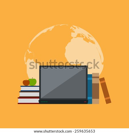 picture of books, notebook and apples in front of world map silhouette, flat style illustration, education, online education concept - stock photo