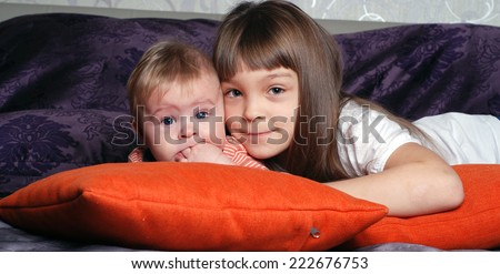 Picture of brother and sister, two cheerful children , little girl and boy , best friends, happy family, love and happiness concept - stock photo