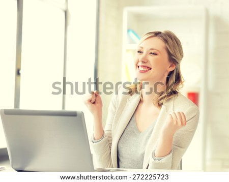 picture of business woman with expression of tryumph - stock photo