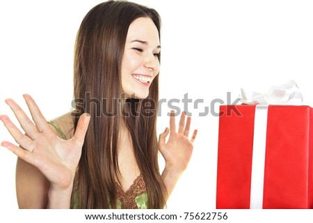 picture of cheerful girl with gift box - stock photo