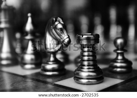 Picture of Chess Pieces taken in Venice Italy - stock photo