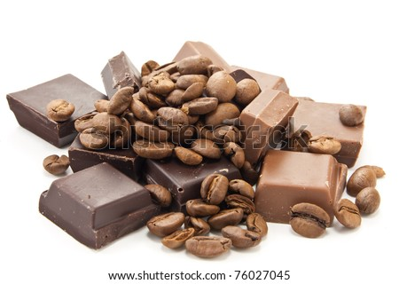 Picture of coffee beans and chocolate on a white background - stock photo