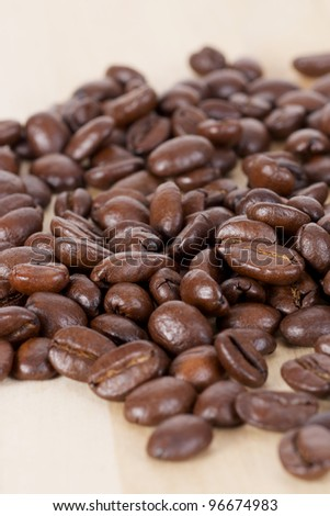 Picture of coffee beans, close up - stock photo