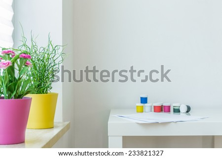 Picture of colors on the white coffe table - stock photo