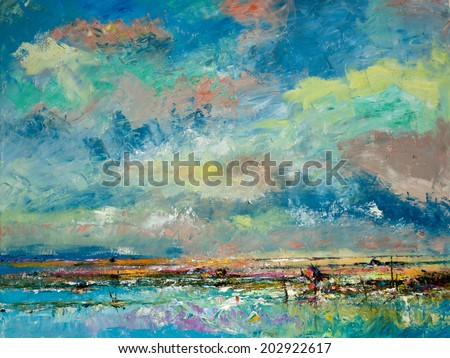 Picture of countryside in Thailand, Oil color painting on canvas. - stock photo