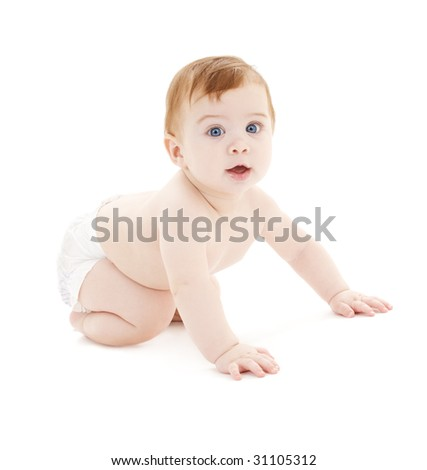 picture of crawling baby boy in diaper over white - stock photo