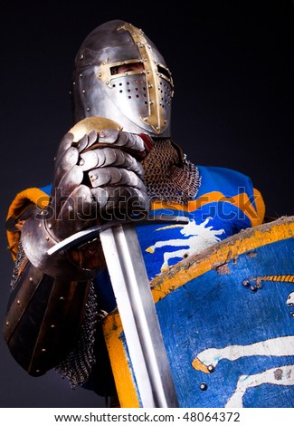 Picture of crusader. Studio shot - stock photo