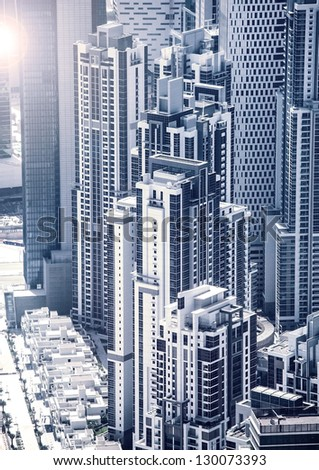 Picture of Dubai downtown, arabic luxury buildings, UAE, United Arab Emirates, business center, cityscape, expensive luxurious property, skyscrapers, hight building, travel and holiday concept - stock photo
