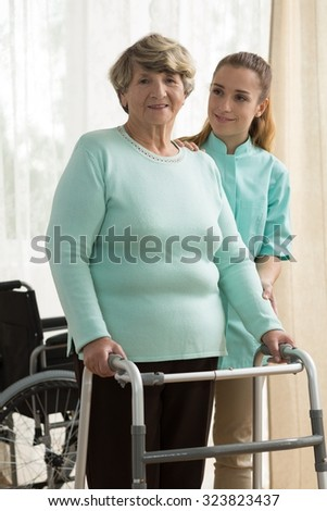 Picture of elder lady in rest home - stock photo