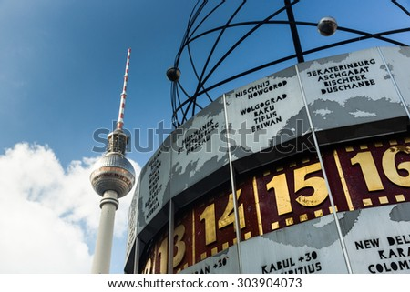 Picture of famous World Clock and Tv tower located in AlexanderPlatz Berlin, Germany - stock photo