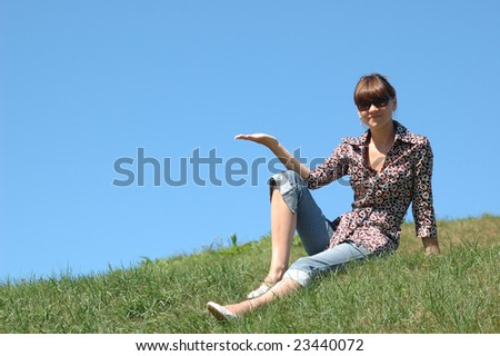 Picture of girl posing on the grass - stock photo