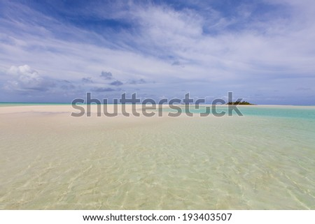 picture of gorgeous empty beach at aitutaki, cook islands - stock photo