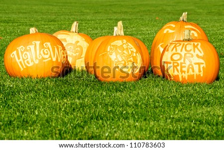 Picture of Halloween pumpkins, standing on a lawn - stock photo