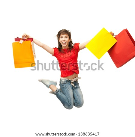 picture of happy girl with shopping bags . - stock photo