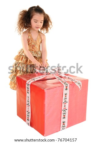 picture of happy little girl with gift box - stock photo