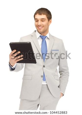picture of happy man with tablet pc computer - stock photo