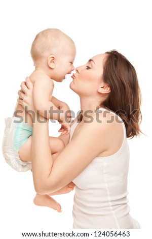 Picture of happy mother with adorable baby isolated on white - stock photo