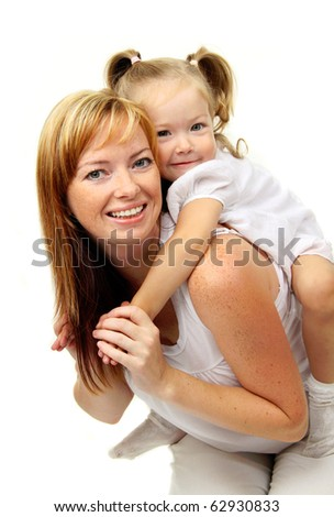 Picture of happy mother with baby girl - stock photo