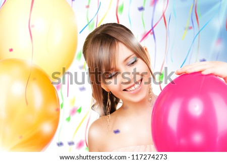 picture of happy teenage girl with balloons - stock photo