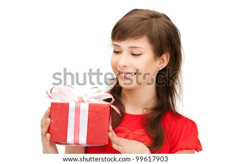 picture of happy teenage girl with gift box - stock photo