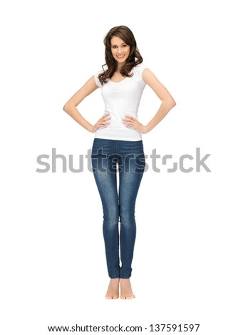 picture of happy woman in blank white t-shirt - stock photo