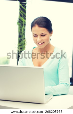 picture of happy woman with laptop computer. - stock photo