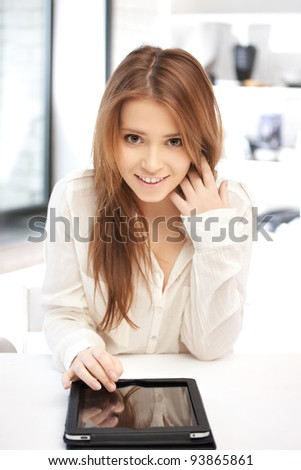 picture of happy woman with tablet pc computer - stock photo