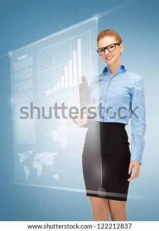 picture of happy woman with virtual screens in specs - stock photo