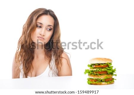 picture of healthy woman rejecting junk food isolated over white background - stock photo