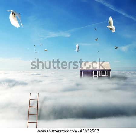 picture of house on the clouds with birds and stairs - stock photo