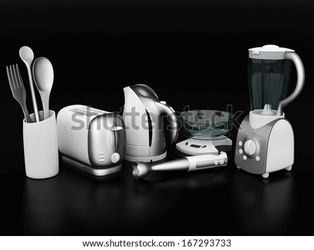 picture of household appliances on a black background - stock photo